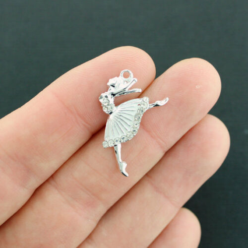 2 Dancer Charms Silver Tone With White Enamel and Inset Rhinestones E046 NEW5