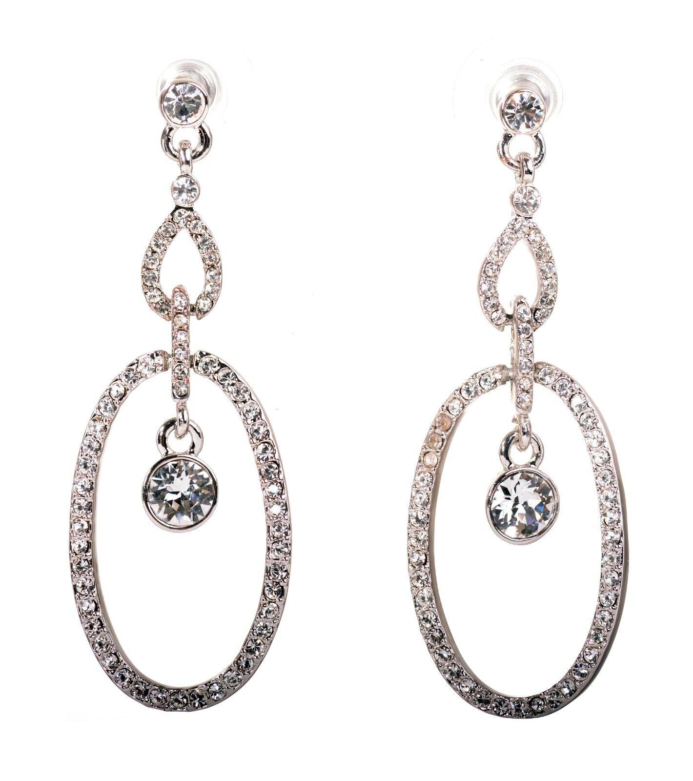 Swarovski Elements Crystal Oval Loops Pierced Earrings Rhodium Authentic 7330z