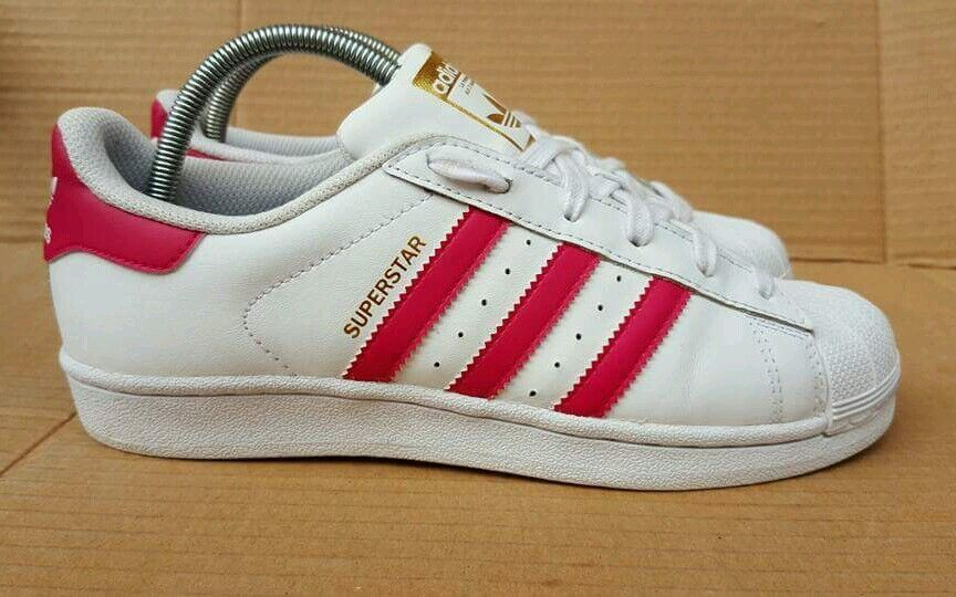 ADIDAS SUPERSTAR SHELL TOE WHITE & PINK TRAINERS SIZE 5.5 UK gold LOGO EXCELLENT