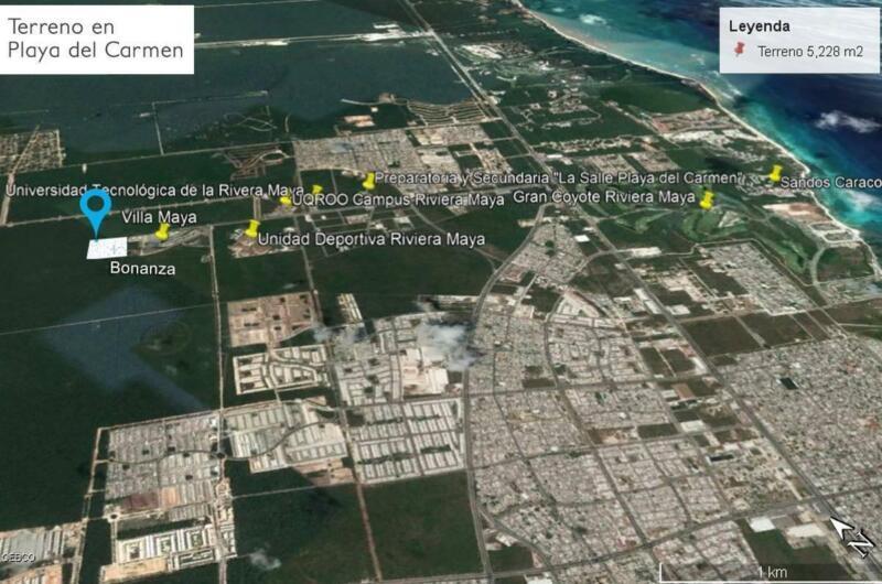 Terreno en Esquina de 5,228 m² en Av Universidades Playa del Carmen