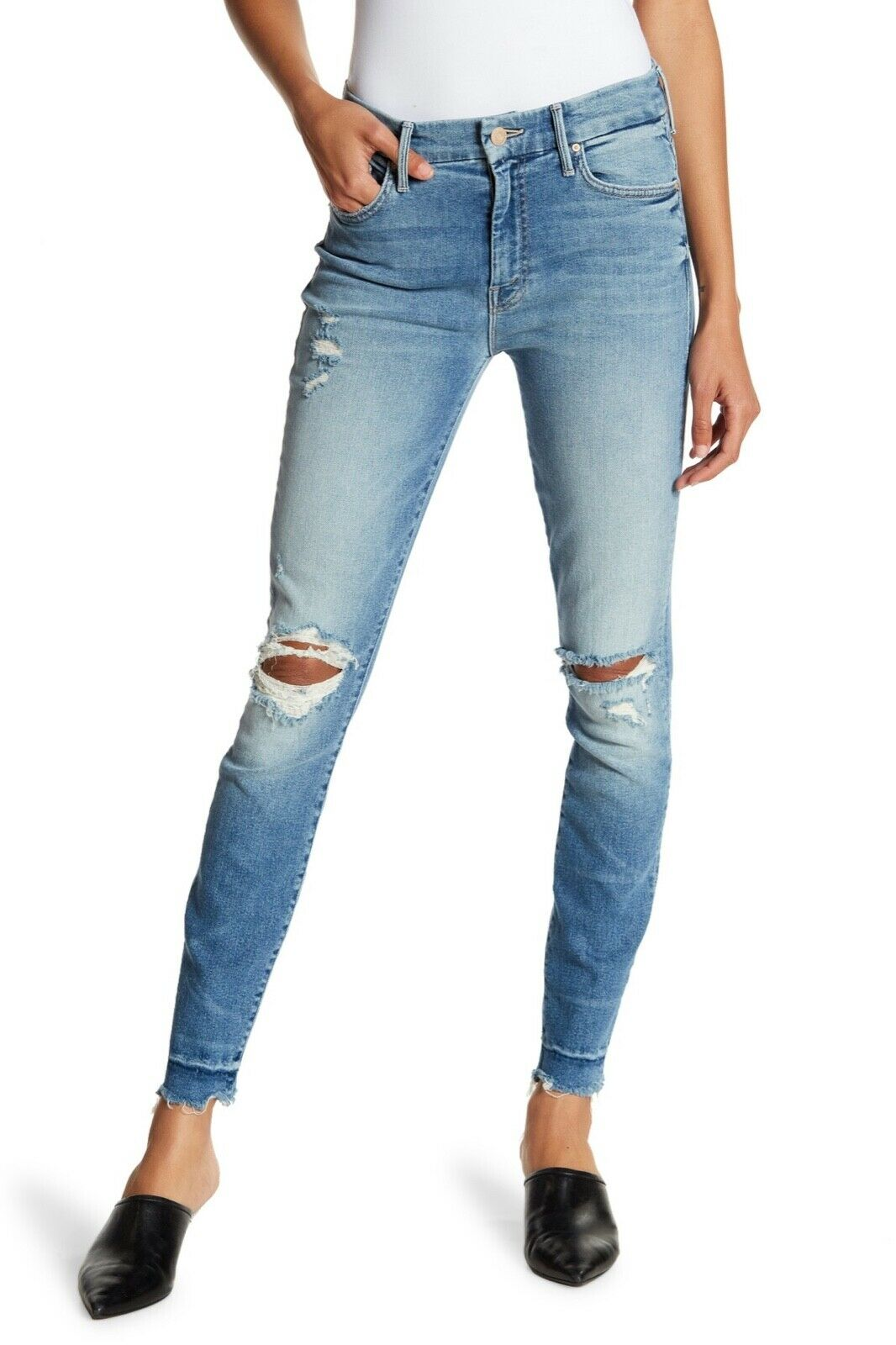 MOTHER Taille Haute Looker Chew Raw Hem Cheville Jeans Taille 25