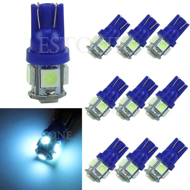 10X Ice Blue T10 5050 5-LED SMD 194 168 W5W XENON Wedge Bulb Car Tail Light