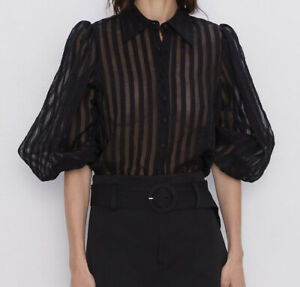 ELEGANT-NEW-WOMAN-STRIPED-ORGANZA-BLOUSE-PUFF-SLEEVES-BLACK