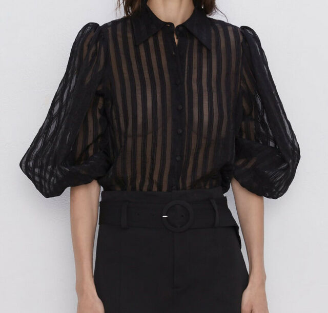 ELEGANT NEW WOMAN STRIPED ORGANZA BLOUSE PUFF-SLEEVES BLACK