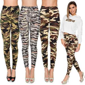 Womens Military Full Length Leggings Plus Size Stretchy High Waist Pants FS8828