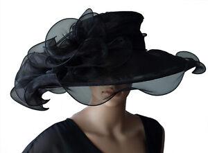 Luxury-Women-039-s-Hat-Black-Hat-Bridal-Hat-Organza-Hat-Wedding-Horse-Racing