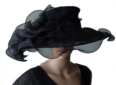 Fashion Style Lusso Damenhut Nero Cappello Brauthut Organzahut Matrimonio Ippica-mostra Il Titolo Originale Chiaro E Distintivo