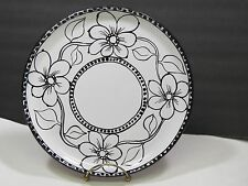 Festin Coquin Large Black White Floral Dinner Plate France Provence Art Pottery