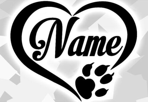 1x Aufkleber Pfote Pfoten Hunde WUNSCHNAME Sticker Auto Tatze Name paw dog Herzz