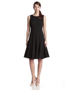 Calvin-Klein-New-WT-Gorgeous-Black-Fit-amp-Flare-Seamed-Dress-size-2P-4P-8P-4-8-12