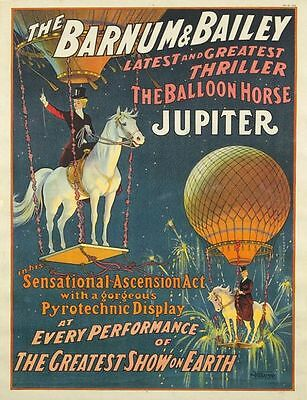Vintage Barnum And Bailey Jupiter The Balloon Horse Circus Poster A3 Print Ebay