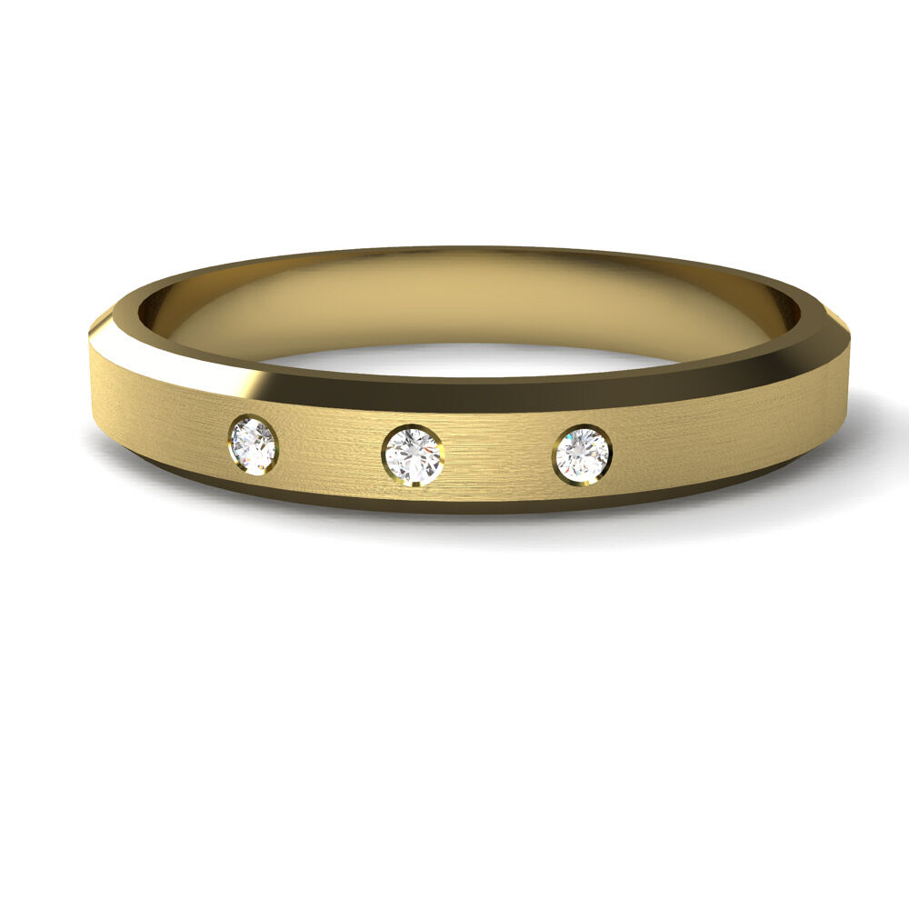 Yellow Gold Diamond Set Wedding Ring Brushed Matt Centre Diamond Cut Bevelled