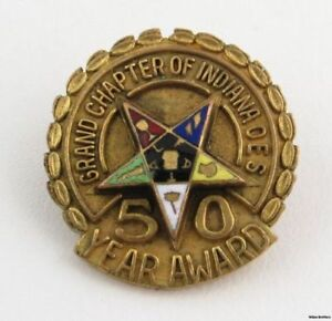 Order-of-the-Eastern-Star-Vintage-50-year-Award-OES-Grand-Chapter-Indiana-oes