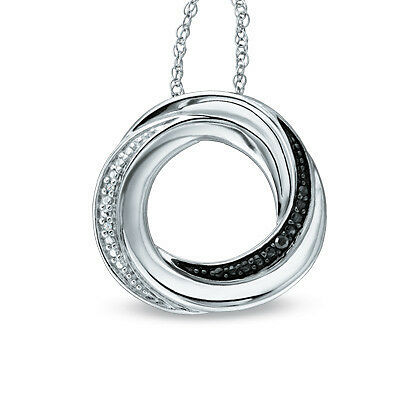 "Sterling Silver Black and White Diamond Accent Circle Pendant with 18"" Chain"