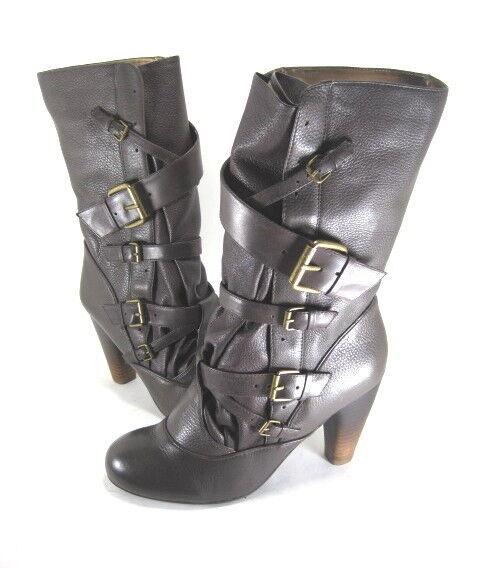 DV BY DOLCE VITA Damenschuhe RAVEN Midcalf Buckle Boot Grau Leder Größe 8.5 NEU