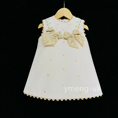 *SALE* Beautiful Wee Me Baby Girl White Spanish Dress Red Polka Dot Bow