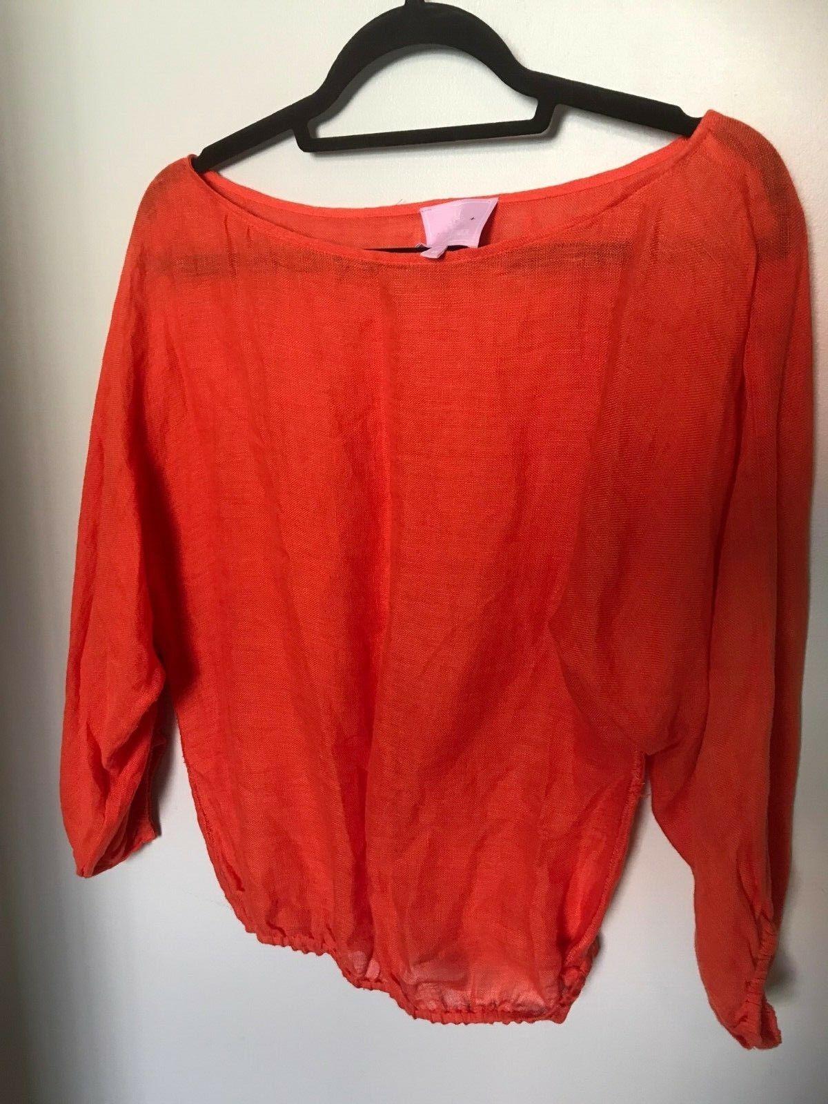 Michelle Farmer Orange Elastic Waist Linen Top
