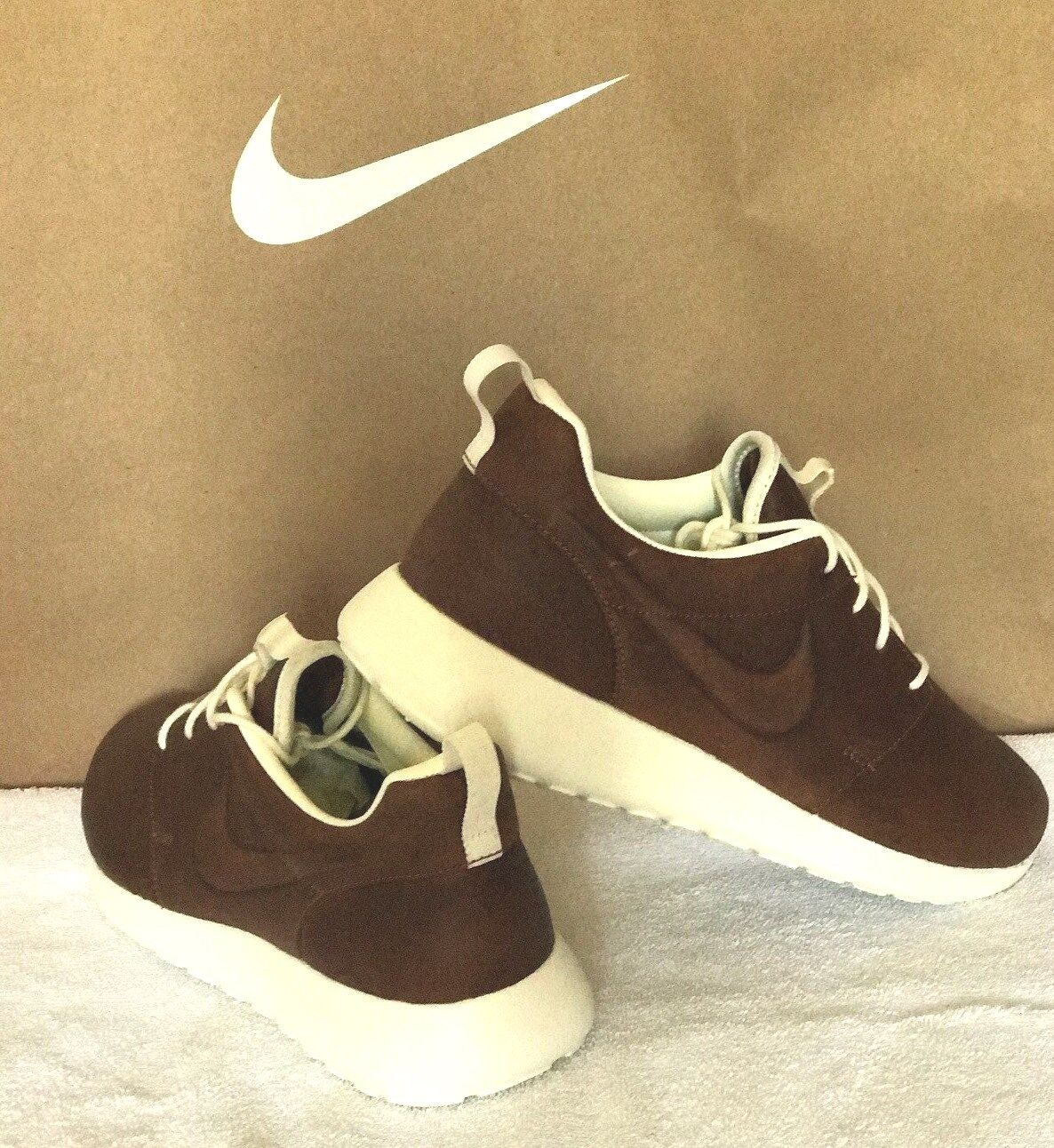 cheap for discount e2d28 29afc Nike Roshe Running Shoe ID Premium Leather Brown - White Size 6.5   eBay