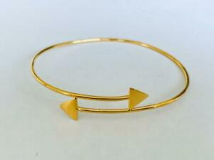 18K Gold on 925 Sterling Silver Bangle Bracelet Cuff Arrow Cupid Triangle Ends