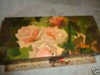 ANTIQUE VICTORIAN CELLULOID DELONGPRE ? PINK FLORAL ROSE PRINT DRESSER SET w BOX