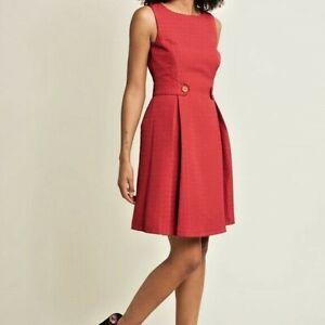 ModCloth-Rojo-tan-sesenta-ajustado-y-acampanado-Vestido-XXS-Excelentes-Condiciones-Retro