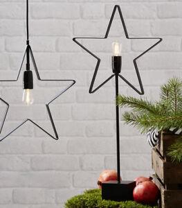 Stehleuchte Stern Metall schwarz inkl. Leuchtmittel E14 Stehlampe Fensterlicht
