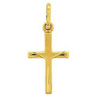 Baby Kinder Kreuz Echt Gold 585 (14 Kt) Zur Taufe Kommunion Mit Silber Vg Kette