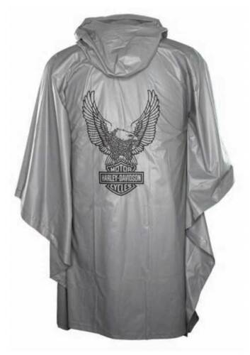 Harley-Davidson Up-Winged Eagle Waterproof Vinyl PVC Rain Poncho Gray RP32854
