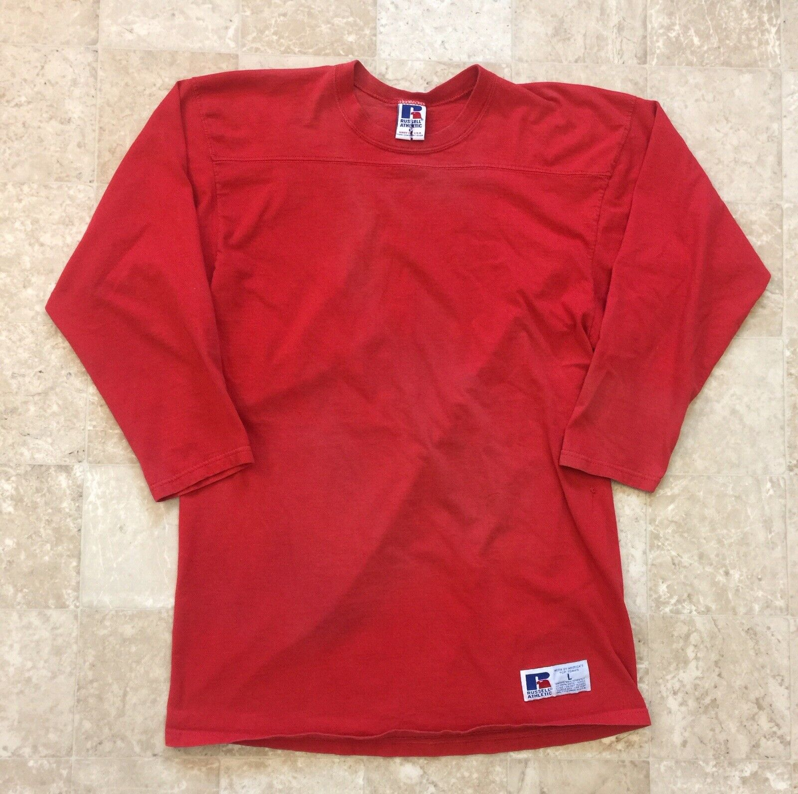 VINTAGE 80's RUSSELL BRAND 3/4 LONG SLEEVE RED T-SHIRT - WOMENS SIZE LARGE USA