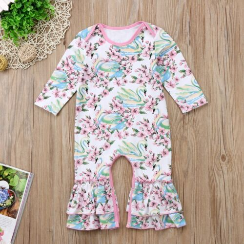 NWT Baby Girls Swan White Ruffle Romper Long Sleeve One Piece Jumpsuit