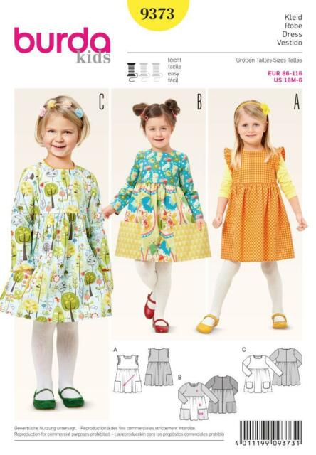 Burda Sewing Pattern Kids Dress With Gathered Skirt 18m - 6 Yrs 9373 ...