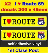 2 fun stickers route 66 / 69 decal Pannier bike car mini cart Scooter vw