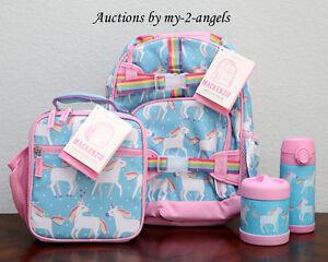 New Pottery Barn Kids Aqua Unicorn Small Backpack Lunch