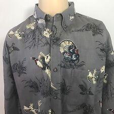 Turkey Pheasant Quail Hunt Shirt L Large Gray Long Sleeve Cotton Magellan Hunter