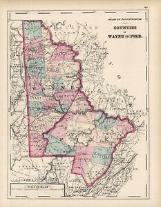 1872-Map-of-Wayne-and-Pike-Counties-Pennsylvania-Original