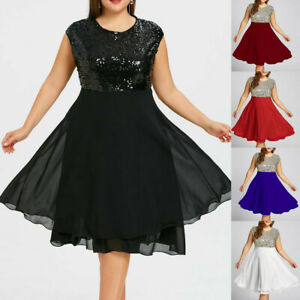 Women-039-s-Plus-Size-O-Neck-Solid-Sleeveless-Zipper-Chiffon-Sequined-Party-dress