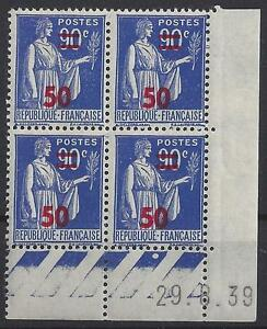 PAIX N° 482 - BLOC de 4 COIN DATE - NEUF sans CHARNIERE - LUXE - 29/6/39 - France - Qualité: Neuf sans trace de charnire Marque postale: Non oblitéré Format: Coins datés - France