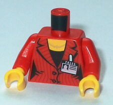 TORSO F010 Lego Female Red pinstriped Suit , Two Buttons, Necklace & Badge NEW