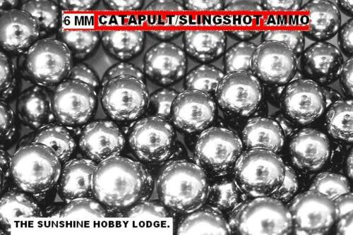 CATAPULT SLINGSHOT AMMO 6MM CARBON STEEL SHOT BALL BEARINGS, PK OF 100, 250, 500