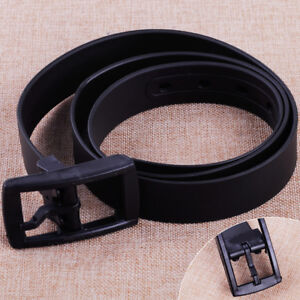 Men/'s Womens Unisex Plain Smooth Silicone Rubber Leather Belt Plastic Buckle UK