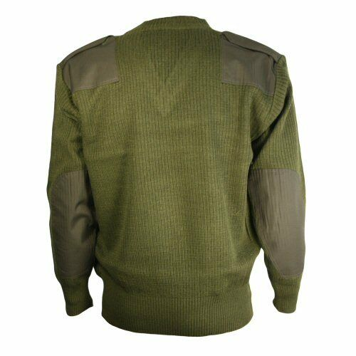New Olive Military Combat NATO V-Neck Pullover Jumper Ribbed Cotton-Wool