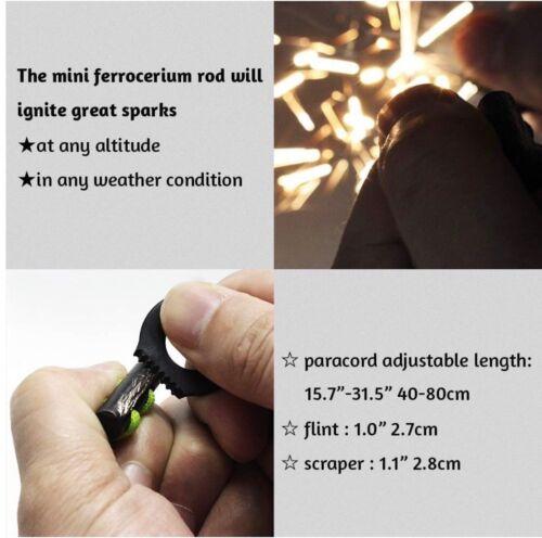 Bushcraft 10 Strand Fire Starter Necklace Hunting Hiking Fishing Gift Box