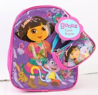 Dora The Explorer Girls 10'' Mini Backpack With Coin Purse Purple Color