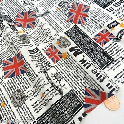 Union Jack Newspaper print Fabric British Flag designer Fabric