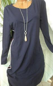 Sheego Kleid Jerseykleid Langarm blau seitlicher Streifen ...
