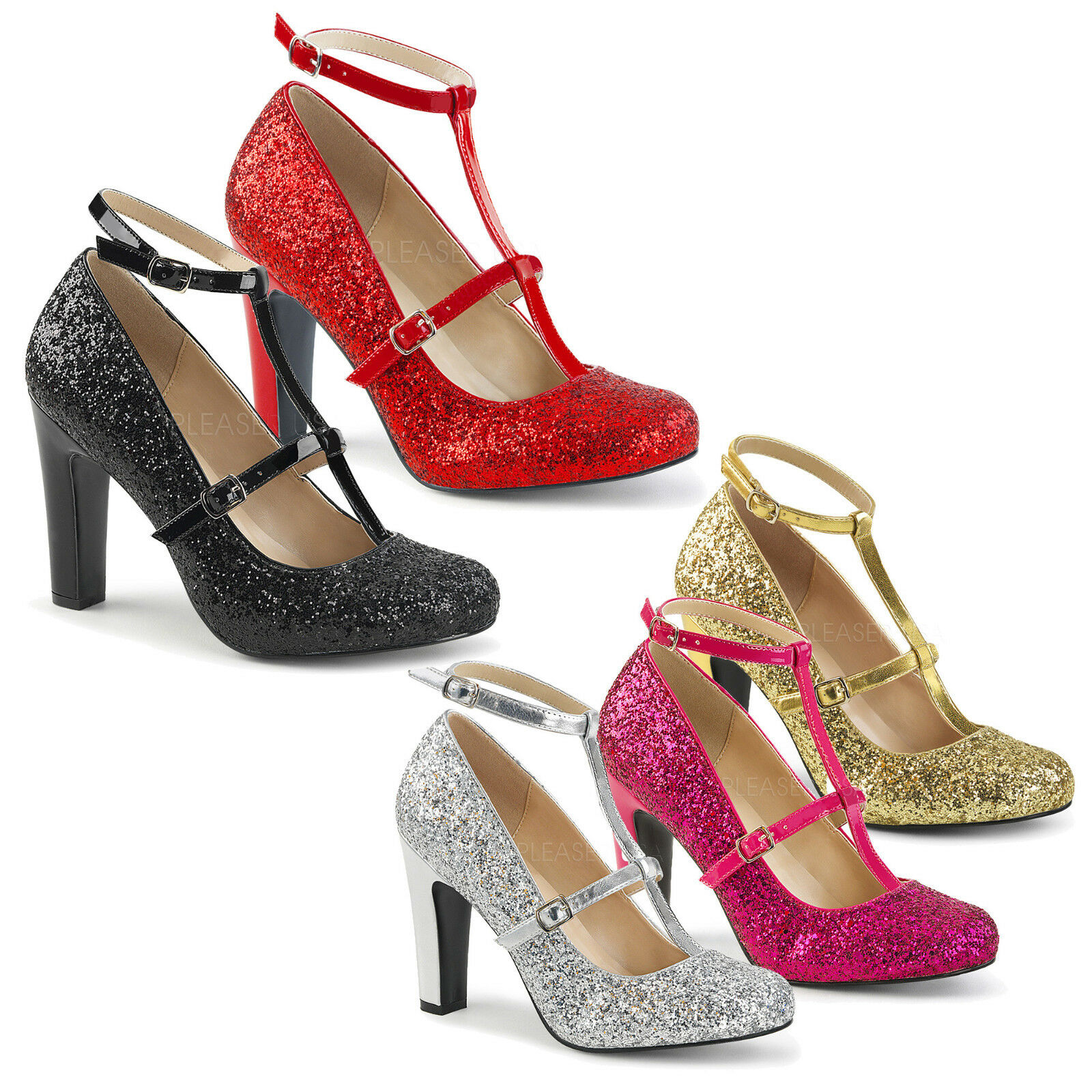 PINK LABEL Rounded By Pleaser - Queen-01 T-Strap Court Schuhe Rounded LABEL Toe Glitter Finish 3c5890