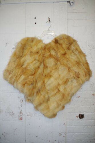 Fur Vintage Cape Fluffy Sjælden One Honey Shaggy Orange Poncho Original Size Skyggefuld xIqwwdOHS