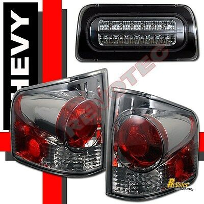 Smoke Fits 94-04 Chevy S10 GMC Sonoma Tail Lamps+Full LED 3rd Tail Brake Light