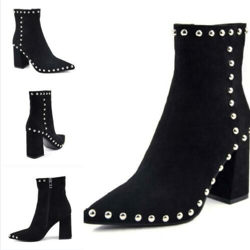 Chic Women Suede Pointy Toe Ankle Boots 9cm Block Heel Rivet Shoes Outdoor Pumps