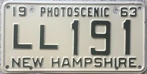 GENUINE-1963-New-Hampshire-Photoscenic-USA-License-Number-Plate-LL-191